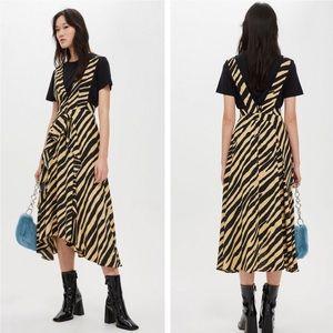 Topshop zebra print pinafora sleeveless dress